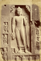 Relief sculpture of standing Buddha to the right of the façade of the Buddhist Chaitya Hall, Cave XIX, Ajanta